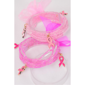 Bracelet Indian Beads Pink Ribbon Charms Stretch/DZ **Stretch**  6 Pink,6 Hot Pink Mix,Hang Tag & OPP bag & UPC Code