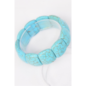 "Bracelet Oval Turquoise Semiprecious Tones Stretchey/PC **Stretch** Size-Width 1.25"" Dia Wide,Hang Tag & OPP Bag & UPC Code"