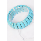 "Bracelet Turquoise Semiprecious Tones Stretchey/PC **Stretch** Size-Width 1.25"" Dia Wide,Hang Tag & OPP Bag & UPC Code"