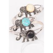 "Bracelet Cuff Elephant Semiprecious Stone/DZ match 01073 **Flexable** Elephant-1.75""x 1"" Wide,4 Black,4 Ivory,4 Turquoise Asst,Hang Tag & OPP Bag & UPC Code"