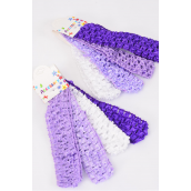 "Ballerina Headband 48 pcs Purple Mix Stretch/DZ **Purple Mix** Stretch,Size-1.25"" Wide,Hang Tag & OPP Bag & UPC Code,4 pcs per Card,12 card= Dozen"