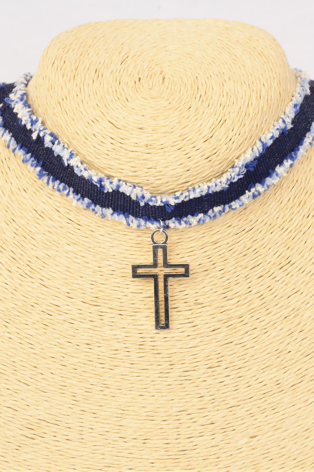 "Necklace Choker Denim Cross Pendant/DZ Size-14"" W Extension Chain,Display Card & OPP Bag & UPC Code"
