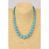"Necklace Turquoise Semiprecious Stones Graduate From 20 mm to 12 mm/PC **Turquoise** Size-18"" extension Chain, Hang tag & Opp Bag & UPC Code"