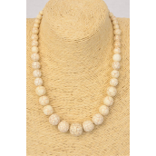 "Necklace Ivory Real Semiprecious Stones Graduate From 20 mm to 8 mm/PC **Ivory** Size-18"" Long, Hang tag & Opp Bag & UPC Code"