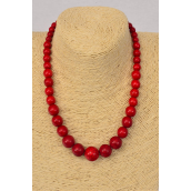 "Necklace Red Semiprecious Stones Graduate From 20 mm to 12 mm/PC **Red** Size-18"" Long, Hang tag & Opp Bag & UPC Code"
