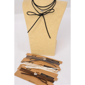 Necklace Faux Suede Cord String Wrap Bolo Tie Choker Heart Pendant Multi/DZ **Multi** 6 Black,2 Brown,2 Gray,2 White,4 Color Asst,Display Card & OPP Bag & UPC Code