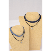 "Necklace Choker 2 Strand Denim & Faux Suede Cord 10 mm CZ Cubic Zirconium Pendant/DZ Size-14"" Extension Chain,6 of each Color Asst,Display Card & OPP Bag & UPC Code"