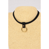 "Necklace Choker Black Leather Feel Gold Ring Sits at the Center of this Black choker/DZ Size-14"" Extension Chain,Display Card & OPP Bag & UPC Code"