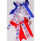 "Hair Bow Long Tail Flag Paw Print Jumbo A Double Layer Grograin Bowtie/DZ ** Alligator Clip** Bow-6.5""x 6"" Wide,4 White,4 Red,4 Blue,3 Color Mix,Clip Strip & UPC Code"