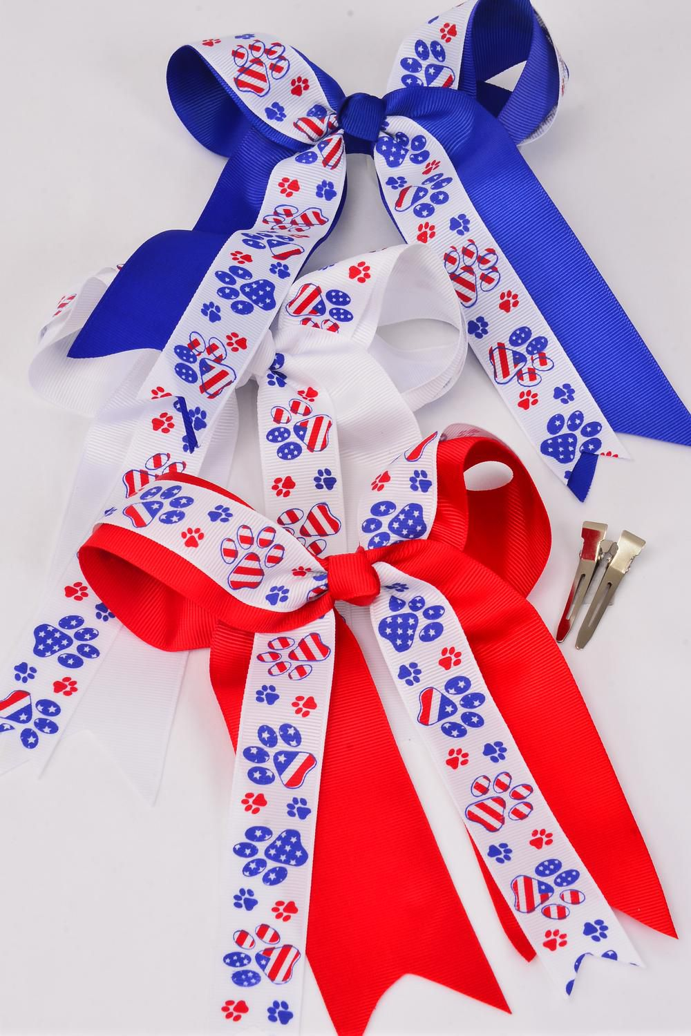 "Hair Bow Long Tail Jumbo Double Layered Patriotic Paw Grograin Bowtie/DZ ** Alligator Clip** Bow-7""x 6"" Wide,4 White,4 Red,4 Blue,3 Color Mix,Clip Strip & UPC Code"