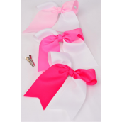 "Hair Bow Extra Jumbo Long Tail 2 Tone Pink & White Mix Cheer Bow Type Grosgrain Bow-tie/DZ **Pink & White Mix** Alligator Clip,Size-6.5""x 6"",4 of each Colotr Asst,Clip Strip & UPC Code"
