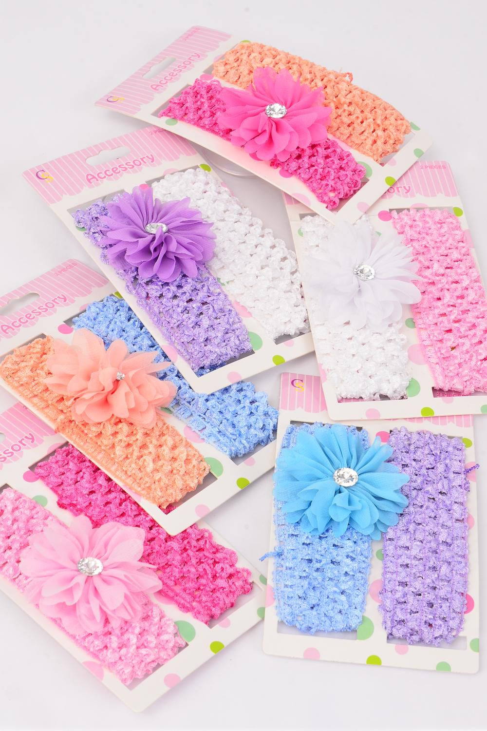 "Ballerina Headband 24 pcs Daisy Flower Stretch Pastel/DZ **Pastel** Stretch,Ballerina-1.5"",Flower-2.75"" wide,2 of each Color Asst, Display Card & OPP Bag & UPC Code"