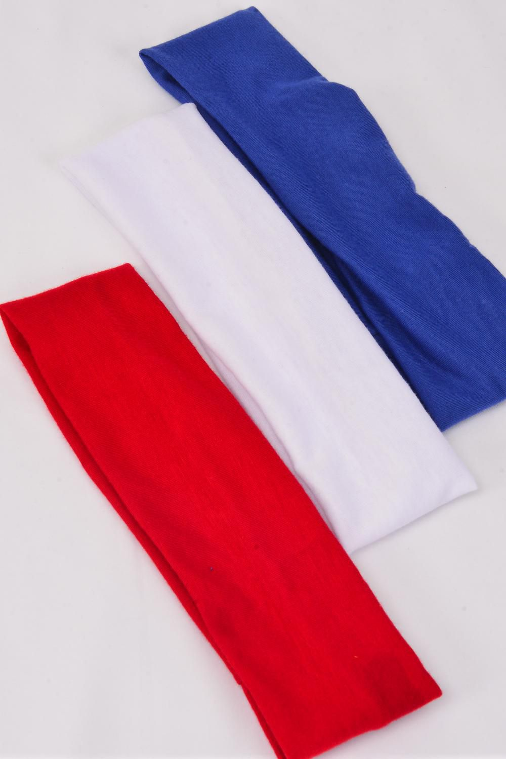 "Headband Cotton Stretchy Red White Blue Mix/DZ **Stretch** Weith-2.5"" Wide,4 of each Color Asst,Hang Tag & OPP Bag & UPC Code"