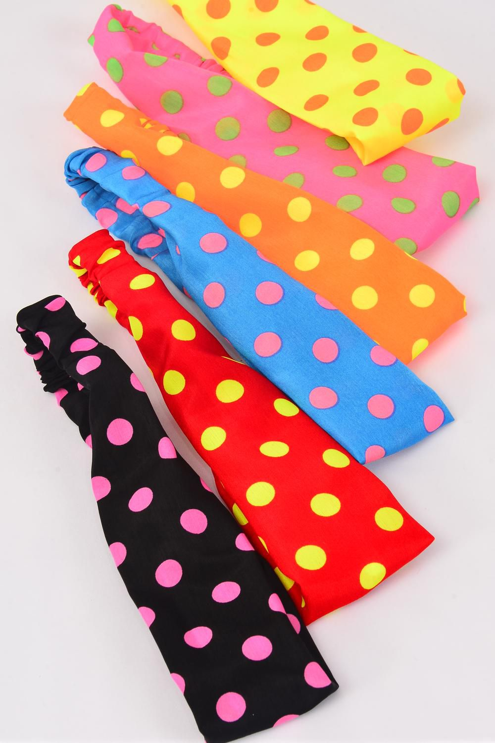 "Headband Style Fabric Large Neon Polkadots Stretch Multi/DZ **Stretch** Weith-2.5"" Wide,2 of each Color Asst,Individual OPP Bag & UPC Code"