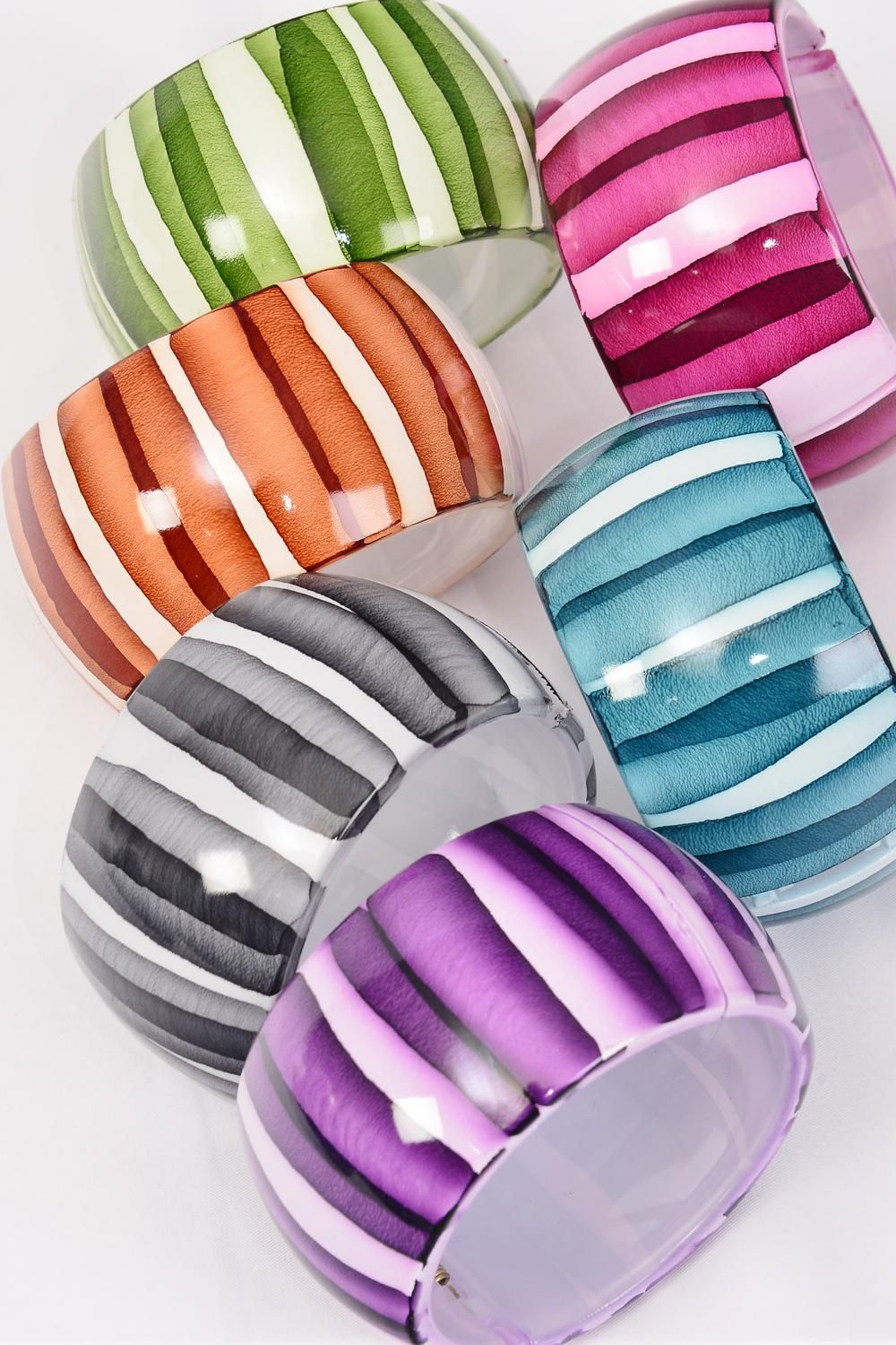 "Bangle Acrylic Wide Hinge Stripes Multi/DZ **Hinge** Size-2.75""x 1.75"" Dia Wide,2 of each Color Asst,Hang Tag & Opp Bag & UPC Code"