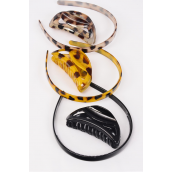 "Headband & Jaw Clip Sets Tortoise Leopard Print/DZ Headband-0.75"" Jaw Clip-9 cm,4 of each Color Asst,Individual Hang Tag & OPP Bag & UPC Code"