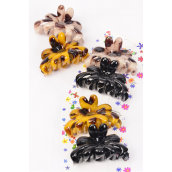 "Jaw Clip Sets Acrylic Tortoise Black & Leopard Print Mix Inner Pack of 2 /DZ Size-2.5""x 1.5"" Wide,4 of each Color Asst,Individual Display Card & Opp Bag & UPC Code"