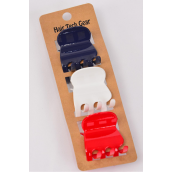 Jaw Clip Sets Acrylic 3.5 cm 36 pcs Red White Black Navy Color Asst Inner Pack of 3 /DZ Size-3.5 cm,6 Multi,2 of each Color Asst,Individual Display Card & Opp Bag & UPC Code
