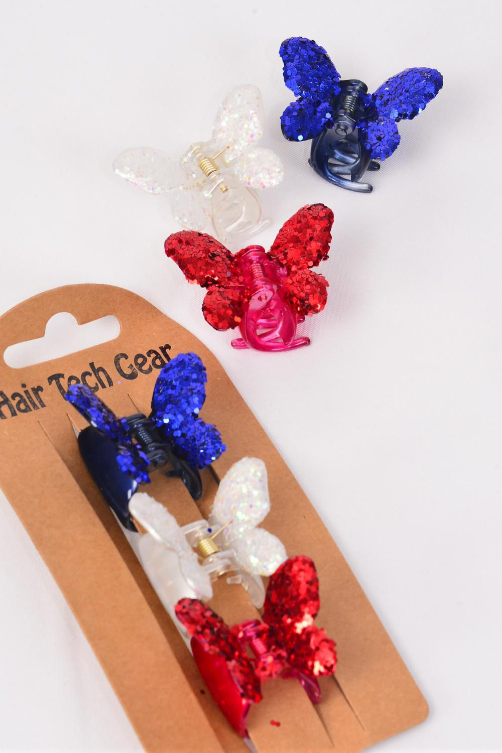 Jaw Clip Sets Butterfly Glitter 3 cm 36 pcs Red White Navy Color Asst Inner Pack of 3 /DZ Size-3 cm Pr Color Asst,Individual Display Card & Opp Bag & UPC Code
