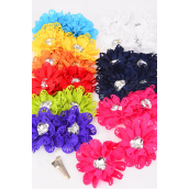 "Hair Bow Flower 24 pcs Center Large Clear Heart Stone Grosgrain Fabric Flower/DZ **Multi** Alligator Clip,Size-3"",2 Navy,2 White,2 Fuchsia,1 Yellow,1 Red,1 Blue,1 Purple,1 Lime,1 Orange Mix,Clip Strip & UPC Code,12 Pair=Dozen"