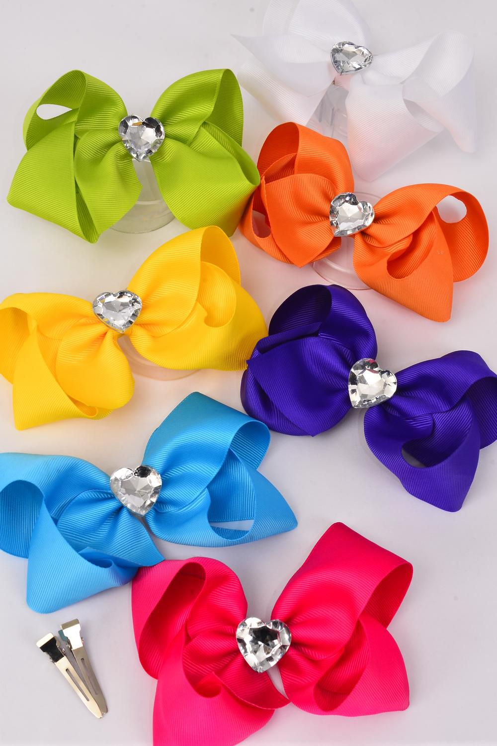 "Hair Bow Jumbo Citrus Center  Large Acrylic Clear Heart Grosgrain Bow-tie/DZ **Citrus** Alligator Clip,Size-6""x 5"",2 White,2 Fuchsia,2 Blue,2 Purple,2 Yellow,1Orange,1 Lime,7 Color Asst,Clip Strip & UPC Code"