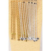 "Bracelet Rope Chain 4 mm Wide 8''/DZ Size-8"",Hang Card & OPP Bag,Choose color gold silver Finishes"
