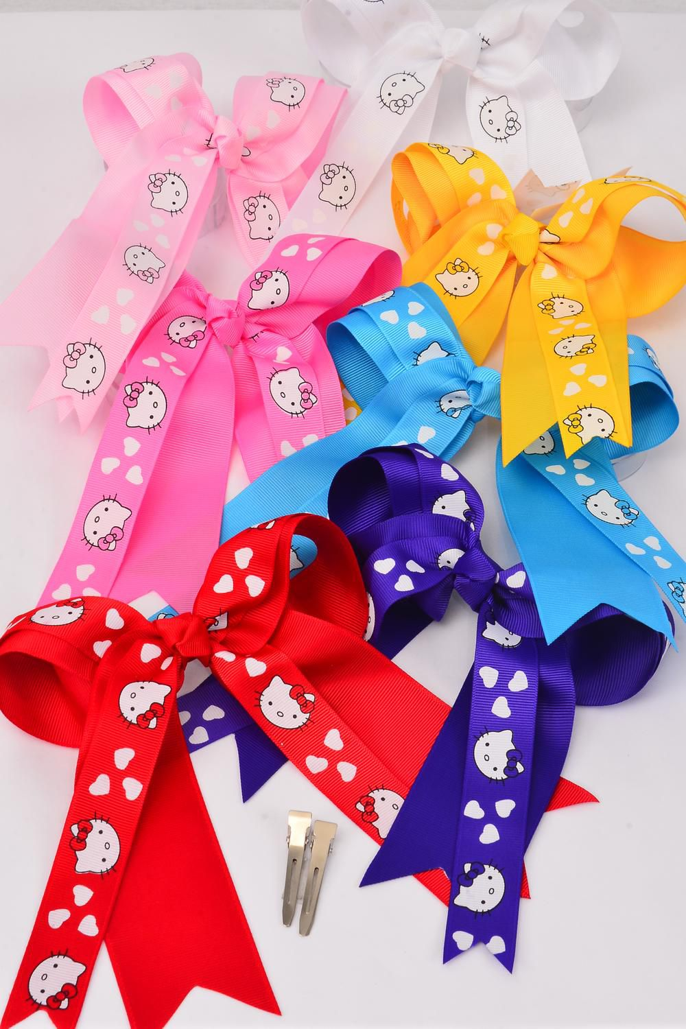 "Hair Bow Long Tail Kitty Cat Print Double Layer Alligator Clip Grosgrain Bowtie/DZ **Alligator Clip** Bow-6.5""x 6"" Wide,2 Pink,2 Blue,2 Purple,2 Hot Pink,2 Red,1 Yellow,1 White,7 Color Mix,Clear Strip & UPC Code"