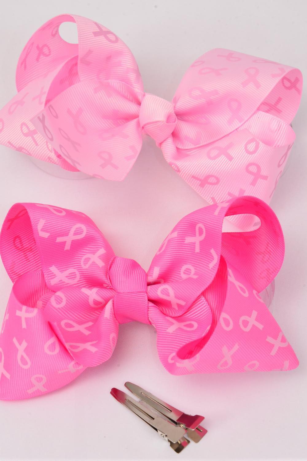 "Hair Bow Jumbo Pink Ribbon Grosgrain Fabric Bow-tie/DZ Alligator Clip,Size-6""x 5"" Wide,6 of each Color Asst ,Clip Strip & UPC Code"