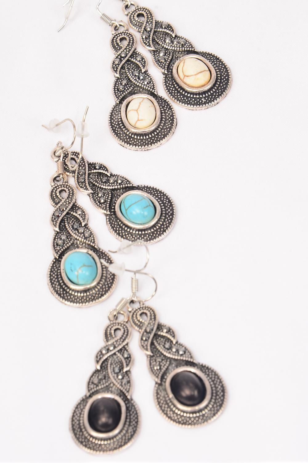 "Earrings Metal Antique Marcasite Look Semiprecious Stone/DZ **Fish Hook** Size-1.75""x 0.75"" Wide,4 Black,4 Ivory,4 Turquoise Asst,Earring Card & OPP Bag & UPC Code -"