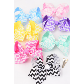 """Hair Bow Jumbo Chevron Pastel Grosgrain Fabric Bow-tie/DZ **Pastel** Alligator Clip,Size-6""""x 5"""" Wide,2 White,2 Yellow,2 Blue,2 Pink,2 Lavender,1 Hot Pink,1 Mint Green,7 Color Asst,Clear Strip & UPC Code"""