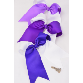 """Hair Bow Extra Jumbo Long Tail 2 Tone Cheer Type Bow Purple & White Mix/DZ **Purple & White Mix** Alligator Clip,Size-6.5""""x 6"""",4 of each Colotr Asst,Clip Strip & UPC Code"""