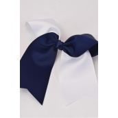 "Hair Bow Extra Jumbo Long Tail 2 Tone Navy & White Mix Cheer Bow Type Grosgrain Bow-tie/DZ **Navy & White Mix** Alligator Clip,Size-6.5""x 6"",Clip Strip & UPC Code"