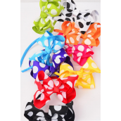 "Headband Grosgrain Jumbo Bow-tie Polkadots w Knot Citrus/DZ **Multi** Bow-6""x 5"" Wide,2 Fuchsia,2 White,2 Black,1 Lime,1 Orange,1 Blue,1 Red,1 Yellow,1 Purple,Display Card & UPC Code,Clear Box"