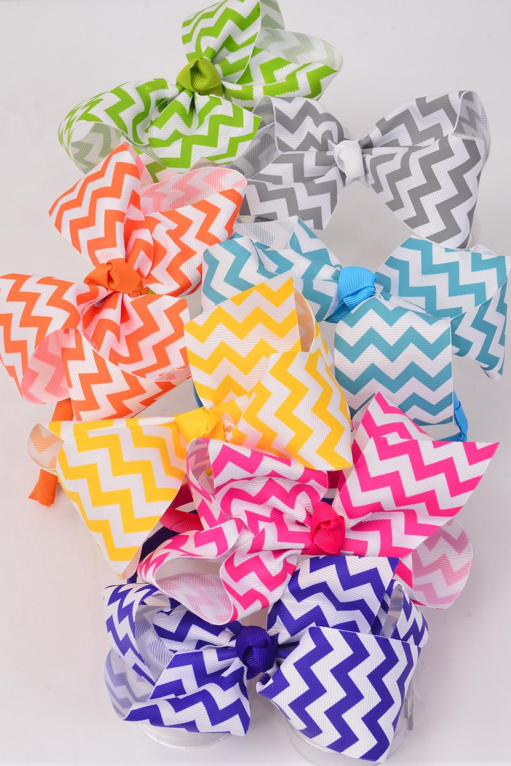"Headband Horseshoe Jumbo Grosgrain Bow-tie Chevron Pattern Knot Citrus/DZ **Citrus** Bow-6""x 5"" Wide,2 Fuchsia,2 White,2 Blue,2 Purple,2 Yellow,1 Lime,1 Orange Mix,Display Card & UPC Code,Clear Box"
