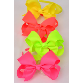 "Headband Horseshoe Grosgrain Bow-tie Neon Mix/DZ **Neon**  Bow Size-6""x 5"" Wide,3 of each Color Mix,Hang Tag & UPC Code,W Clear Box -"