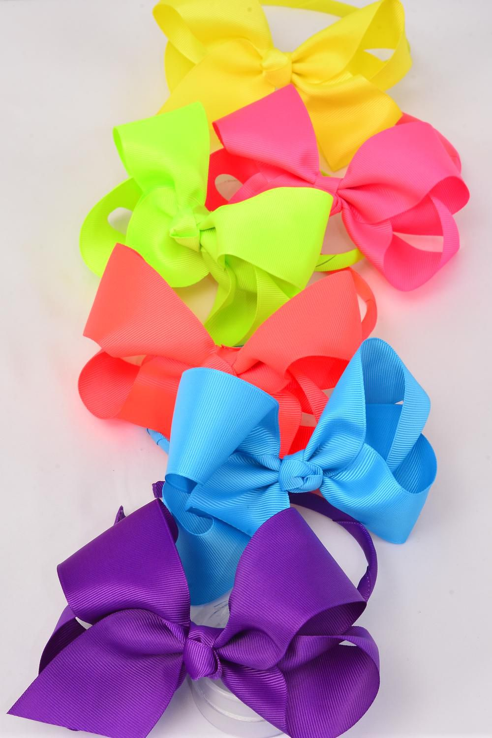 "Headband Horseshoe Jumbo Grosgrain Bow-tie Carabben Neon/DZ **Caribbean Neon** Bow Size-6""x 5"",2 Turquoise,2 Orange,2 White,2 Pink,2 Purple,1 Yellow,1 Lime Mix,Display Card & UPC Code,W Clear Box"
