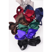 "Headband Horseshoes Jumbo Grosgrain Bow-tie Drak Multi/DZ **Dark Multi** Bow Size-6""x 5"" Wide,2 Black,2 Navy,2 Brown,2 Burgundy,2 Purple,1 Gray,1 Hunter Green,7 Color Asst,Hang Tag & UPC Code,W Clear Box -"