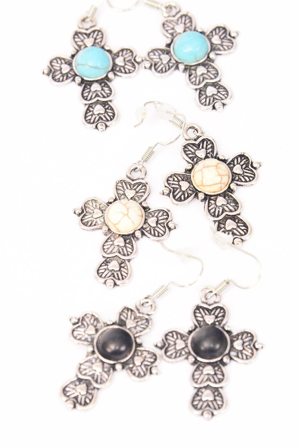 "Earrings Metal Antique Cross Semiprecious Stone/DZ match 75024 **Fish Hook** Size-1.25""x 1"" Wide,4 Black,4 Ivory,4 Turquoise Asst,Earring Card & OPP Bag & UPC Code -"