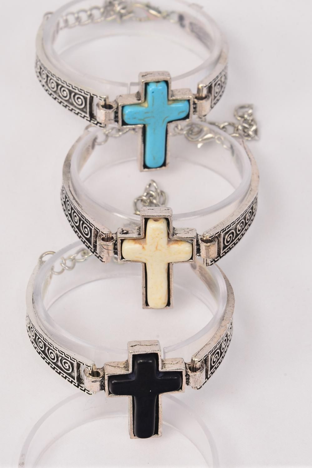 "Bracelet Cross Semiprecious Stone/DZ Cross- 1.5""x 1"",Adjustable Length,4 Black,4 Ivory,4 Turquoise Asst,Hang Tag & OPP Bag & UPC Code"