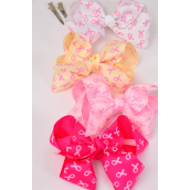 "Hair Bow Jumbo Pink Ribbon Grosgrain Bow-tie/DZ **Alligator Clip** Size-6""x 5"" Wide,4 Hot Pink,4 Baby Pink,2 Beige,2 Whiter Mix,Clip Strip & UPC Code"