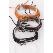 Bracelet Real Leather Side Ways Guitar /DZ **Unisex** Adjustable,4 of each Color Mix,Individual Hang tag & OPP Bag & UPC Code
