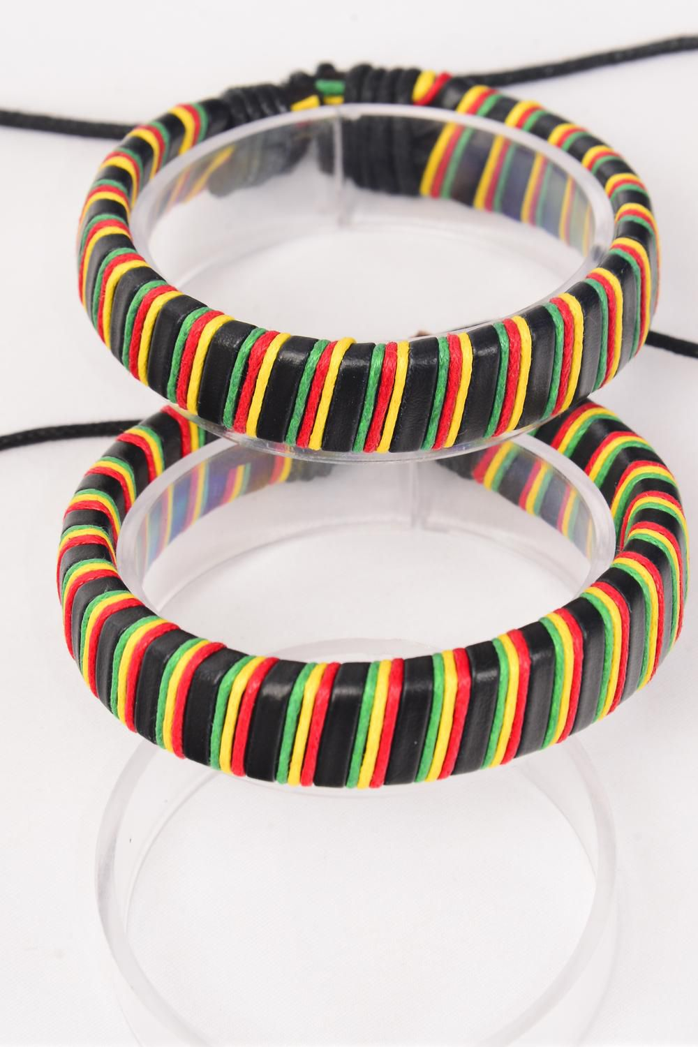 Bracelet Real leather Band Rasta Adjustable/DZ **Unisex** Adjustable,Hang Tag & OPP Bag & UPC Code