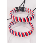 Bracelet Real Leather Band Woven Style Ombre Patriotic-Flag Adjustable/DZ **UNISEX** Adjustable,Hang Tag & OPP Bag & UPC Code