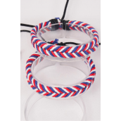 Bracelet Leather Band Fishtail Patriotic Adjustable/DZ **UNISEX** Adjustable,Hang Tag & OPP Bag & UPC Code