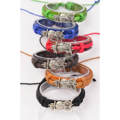 "Bracelet Real Leather Band Sideways Owl Silver/DZ **Unisex** Cross Size-1.25""x 0.75"" Wide,2 of each Color Asst,Hang tag & OPP Bag & UPC Code -"