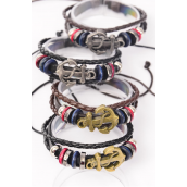 Bracelet Real Leather Anchor Triple Strand Adjustable/DZ **Unisex** Adjustable,3 of each Color Asst,Hang Tag OPP Bag & UPC Code