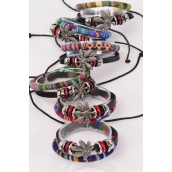 Bracelet Leather Double Layered Hemp Leaf & Macrame Wrap Mix Adjustable/DZ **Unisex** Adjustable,2 of each Color Mix,Hang tag & OPP Bag & UPC Code