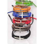 Bracelet Real Leather Band Sideways Cross/DZ **Unisex** 2 of each Color ASst,Hang tag & OPP Bag & UPC Code