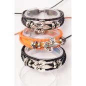 Bracelet Real Leather Fleur De Lis Triple Adjustable/DZ **Unisex** Adjustable,3 of each Color Asst,Hang Tag OPP Bag & UPC Code