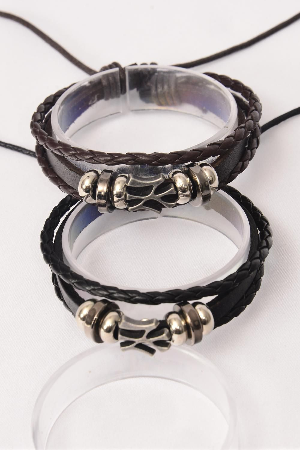 Bracelet Real Leather NY Triple Adjustable/DZ **Unisex** Adjustable,Hang Tag OPP Bag & UPC Code,Choose Colors